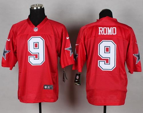 Men's Nike Dallas Cowboys #9 Tony Romo Red Stitched NFL Elite QB Practice Jersey