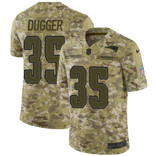 Youth New England Patriots #35 Kyle Dugger Camo Stitched Limited 2018 Salute To Service Jersey