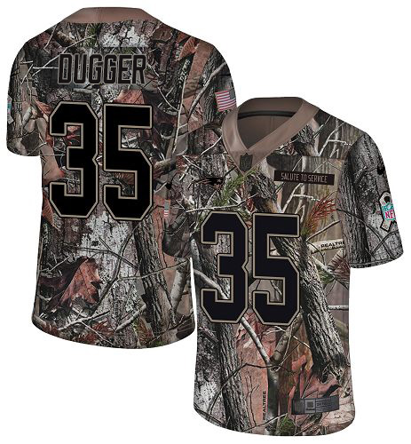 Youth New England Patriots #35 Kyle Dugger Camo Stitched Limited Rush Realtree Jersey