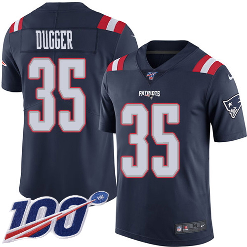 Youth New England Patriots #35 Kyle Dugger Navy Blue Stitched Limited Rush 100th Season Jersey