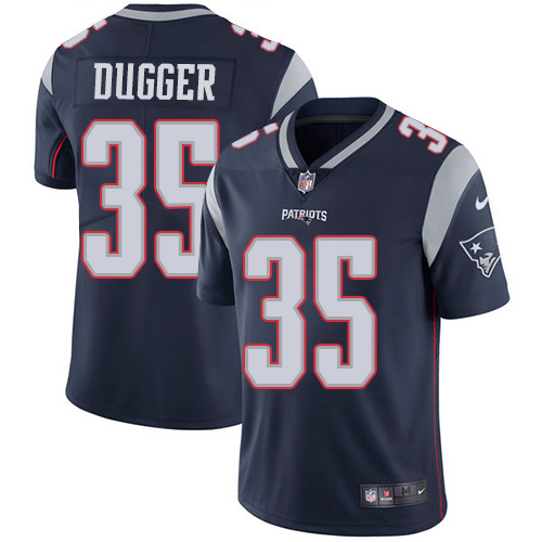 Youth New England Patriots #35 Kyle Dugger Navy Blue Team Color Stitched Vapor Untouchable Limited Jersey