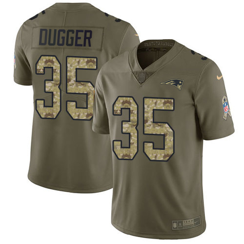Youth New England Patriots #35 Kyle Dugger Olive Camo Stitched Limited 2017 Salute To Service Jersey