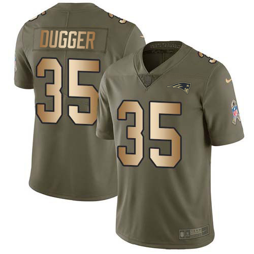 Youth New England Patriots #35 Kyle Dugger Olive Gold Stitched Limited 2017 Salute To Service Jersey