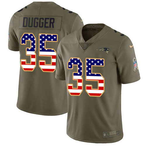 Youth New England Patriots #35 Kyle Dugger Olive USA Flag Stitched Limited 2017 Salute To Service Jersey