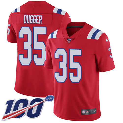 Youth New England Patriots #35 Kyle Dugger Red Alternate Stitched 100th Season Vapor Untouchable Limited Jersey
