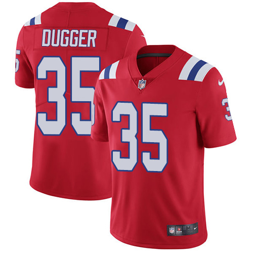Youth New England Patriots #35 Kyle Dugger Red Alternate Stitched Vapor Untouchable Limited Jersey