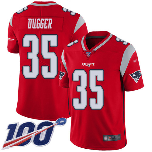 Youth New England Patriots #35 Kyle Dugger Red Stitched Limited Inverted Legend 100th Season Jersey