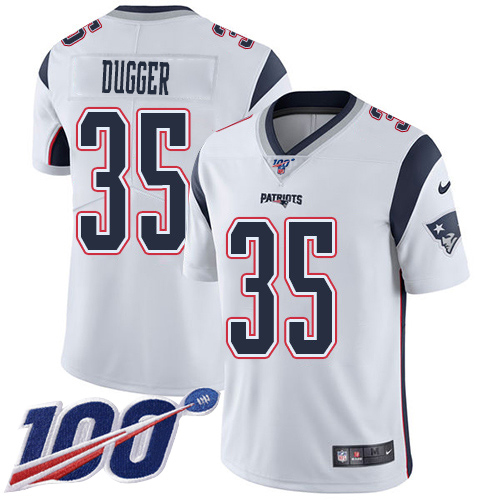 Youth New England Patriots #35 Kyle Dugger White Stitched 100th Season Vapor Untouchable Limited Jersey