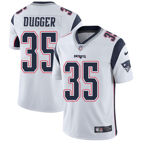 Youth New England Patriots #35 Kyle Dugger White Stitched Vapor Untouchable Limited Jersey