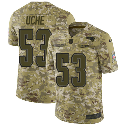 Youth New England Patriots #53 Josh Uche Camo Stitched Limited 2018 Salute To Service Jersey