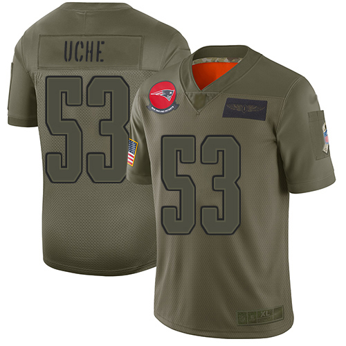 Youth New England Patriots #53 Josh Uche Camo Stitched Limited 2019 Salute To Service Jersey