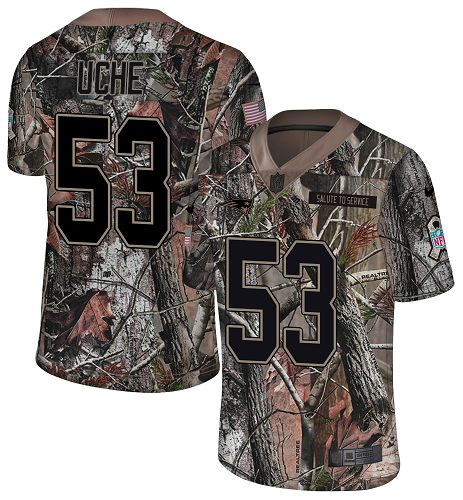 Youth New England Patriots #53 Josh Uche Camo Stitched Limited Rush Realtree Jersey
