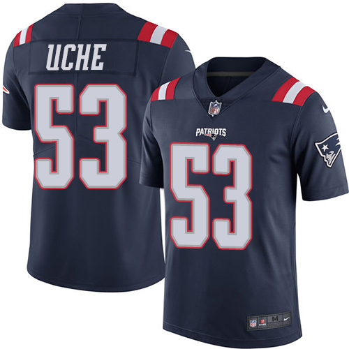 Youth New England Patriots #53 Josh Uche Navy Blue Stitched Limited Rush Jersey