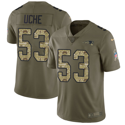 Youth New England Patriots #53 Josh Uche Olive Camo Stitched Limited 2017 Salute To Service Jersey