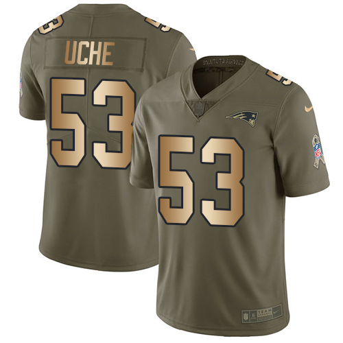 Youth New England Patriots #53 Josh Uche Olive Gold Stitched Limited 2017 Salute To Service Jersey