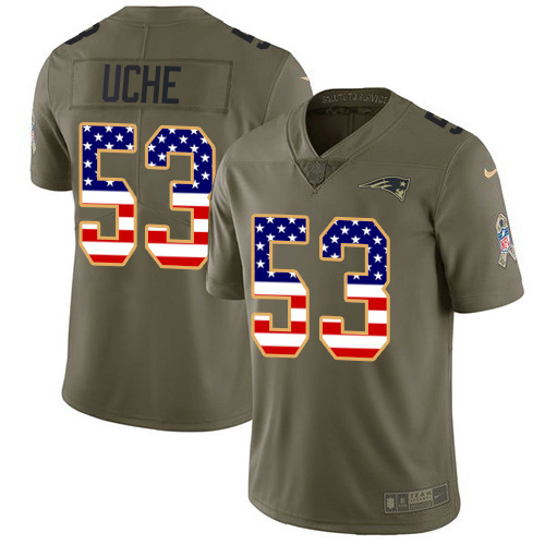 Youth New England Patriots #53 Josh Uche Olive USA Flag Stitched Limited 2017 Salute To Service Jersey