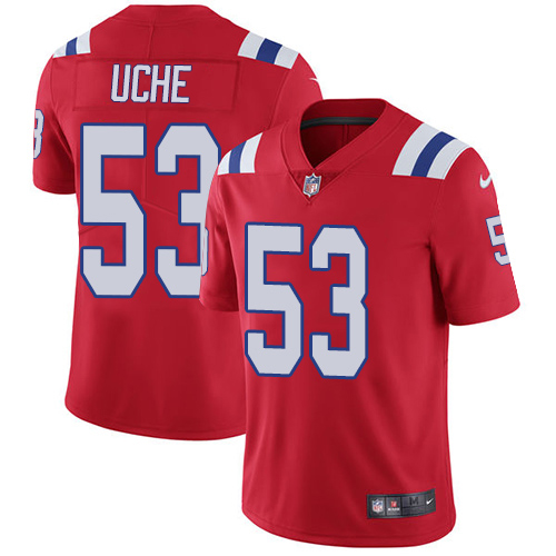 Youth New England Patriots #53 Josh Uche Red Alternate Stitched Vapor Untouchable Limited Jersey