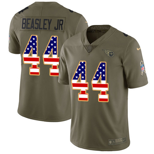 Youth Tennessee Titans #44 Vic Beasley Jr Olive USA Flag Stitched Limited 2017 Salute To Service Jersey