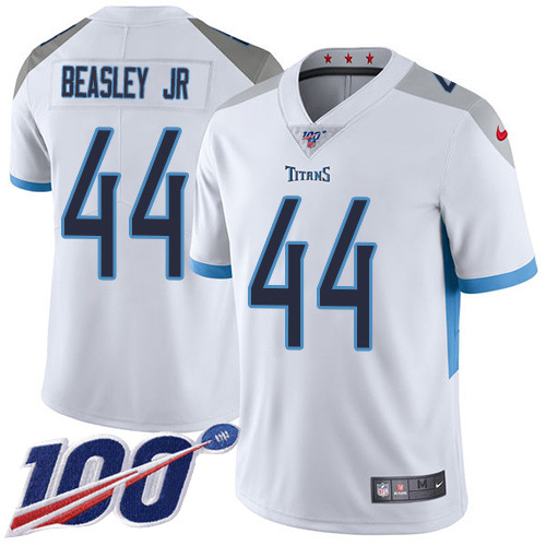 Youth Tennessee Titans #44 Vic Beasley Jr White Stitched 100th Season Vapor Untouchable Limited Jersey