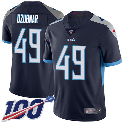 Youth Tennessee Titans #49 Nick Dzubnar Navy Blue Team Color Stitched 100th Season Vapor Untouchable Limited Jersey