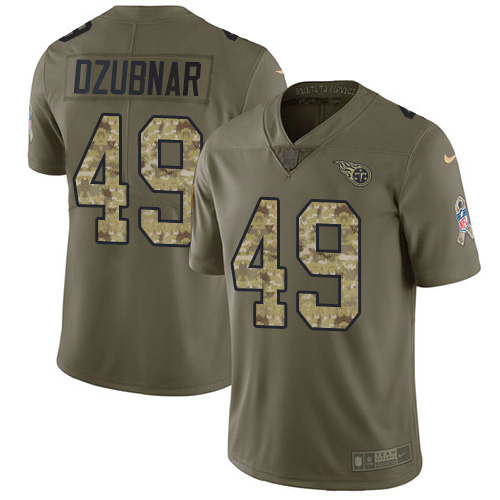 Youth Tennessee Titans #49 Nick Dzubnar Olive Camo Stitched Limited 2017 Salute To Service Jersey