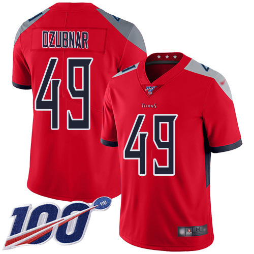 Youth Tennessee Titans #49 Nick Dzubnar Red Stitched Limited Inverted Legend 100th Season Jersey