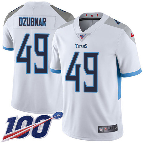 Youth Tennessee Titans #49 Nick Dzubnar White Stitched 100th Season Vapor Untouchable Limited Jersey