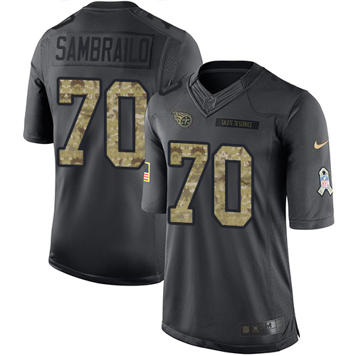 Youth Tennessee Titans #70 Ty Sambrailo Black Stitched Limited 2016 Salute to Service Jersey