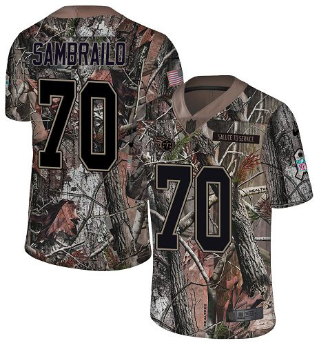 Youth Tennessee Titans #70 Ty Sambrailo Camo Stitched Limited Rush Realtree Jersey
