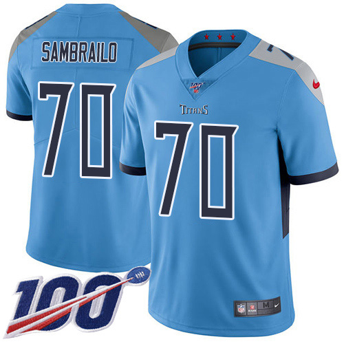 Youth Tennessee Titans #70 Ty Sambrailo Light Blue Alternate Stitched 100th Season Vapor Untouchable Limited Jersey