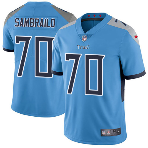 Youth Tennessee Titans #70 Ty Sambrailo Light Blue Alternate Stitched Vapor Untouchable Limited Jersey