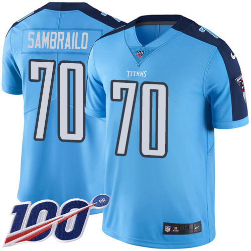 Youth Tennessee Titans #70 Ty Sambrailo Light Blue Stitched Limited Rush 100th Season Jersey