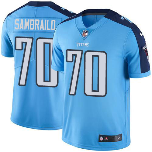 Youth Tennessee Titans #70 Ty Sambrailo Light Blue Stitched Limited Rush Jersey