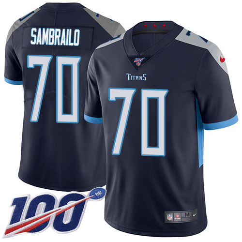 Youth Tennessee Titans #70 Ty Sambrailo Navy Blue Team Color Stitched 100th Season Vapor Untouchable Limited Jersey