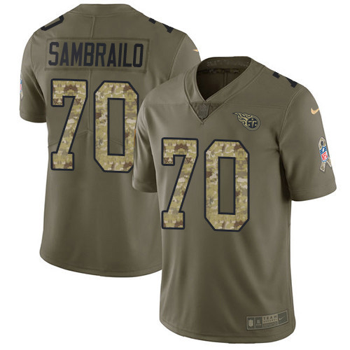 Youth Tennessee Titans #70 Ty Sambrailo Olive Camo Stitched Limited 2017 Salute To Service Jersey