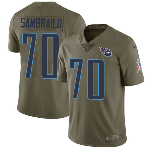 Youth Tennessee Titans #70 Ty Sambrailo Olive Stitched Limited 2017 Salute To Service Jersey