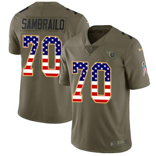 Youth Tennessee Titans #70 Ty Sambrailo Olive USA Flag Stitched Limited 2017 Salute To Service Jersey