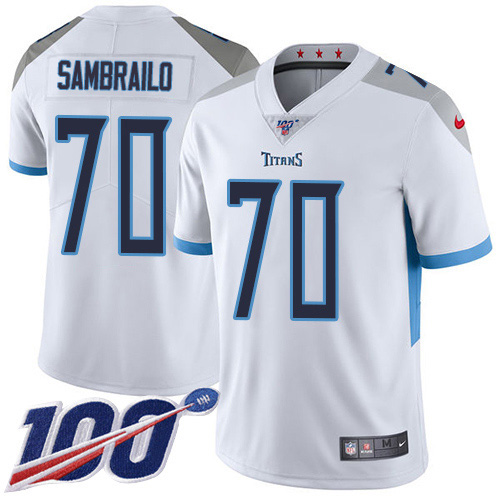 Youth Tennessee Titans #70 Ty Sambrailo White Stitched 100th Season Vapor Untouchable Limited Jersey