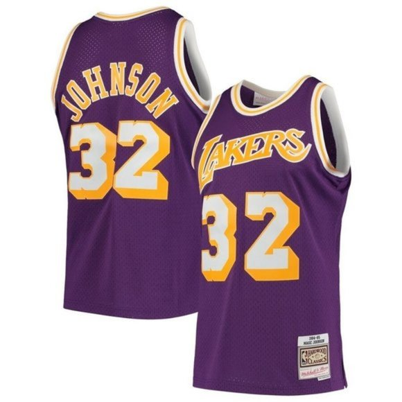 Men's Los Angeles Lakers #32 Magic Johnson Authentic Jersey Purple